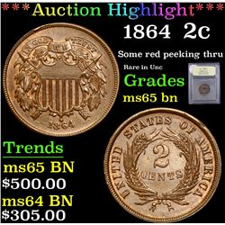 *Auction Highlight* 1864 Some red peeking thru Rare in Unc Two Cent 2c Graded GEM Unc BN By USCG (fc