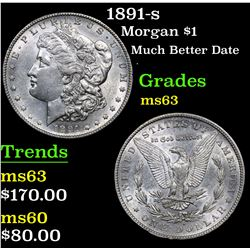 1891-s Much Better Date . Morgan Dollar $1 Grades Select Unc