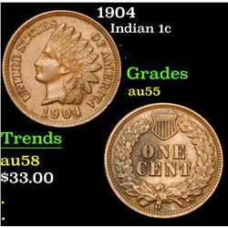 1904 . . Indian Cent 1c Grades Choice AU