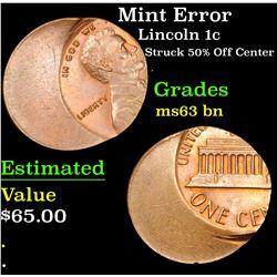 Mint Error Struck 50% Off Center . Lincoln Cent 1c Grades Select Unc BN