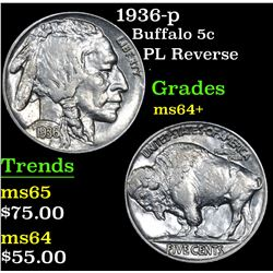 1936-p PL Reverse . Buffalo Nickel 5c Grades Choice+ Unc