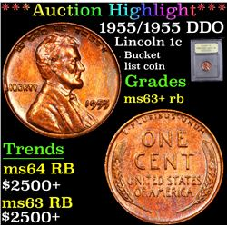 ***Auction Highlight*** 1955/1955 DDO . . Lincoln Cent 1c Graded Select+ Unc RB By USCG (fc)