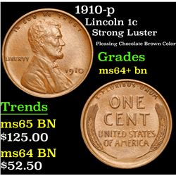 1910-p Strong Luster Pleasing Chocolate Brown Color Lincoln Cent 1c Grades Choice+ Unc BN