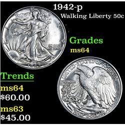 1942-p . . Walking Liberty Half Dollar 50c Grades Choice Unc