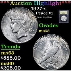 ***Auction Highlight*** 1927-s Semi Key Date . Peace Dollar $1 Graded Select Unc By USCG (fc)