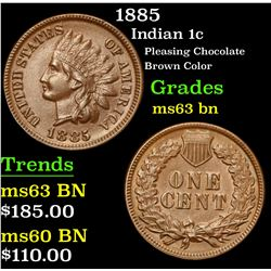 1885 Pleasing Chocolate Brown Color . Indian Cent 1c Grades Select Unc BN