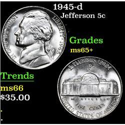 1945-d . . Jefferson Nickel 5c Grades GEM+ Unc