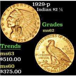 1929-p . . Gold Indian Quarter Eagle $2 1/2 Grades Select Unc