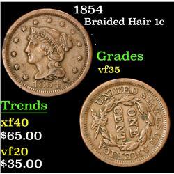 1854 . . Braided Hair Large Cent 1c Grades vf++