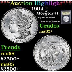 *Auction Highlight* 1904-p Superb Example Ultra Rare; Pristine Morgan $1 Graded GEM+ Unc By USCG (fc