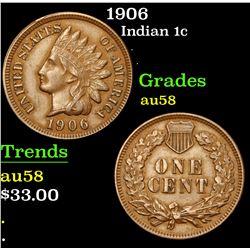 1906 . . Indian Cent 1c Grades Choice AU/BU Slider
