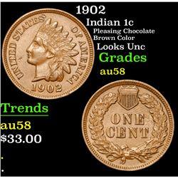 1902 Pleasing Chocolate Brown Color Looks Unc Indian Cent 1c Grades Choice AU/BU Slider