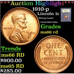 *Auction Highlight* 1910-p Strong Luster Great Red Color Lincoln 1c Graded GEM+ Unc RD By USCG (fc)