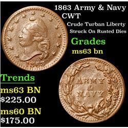 1863 Army & Navy Crude Turban Liberty Struck On Rusted Dies Civil War Token 1c Grades Select Unc BN