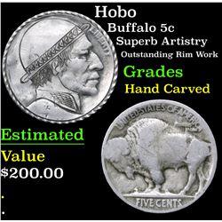 Hobo Superb Artistry Outstanding Rim Work Buffalo Nickel 5c Grades Hand Carved