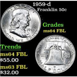 1959-d . . Franklin Half Dollar 50c Grades Choice Unc FBL