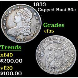 1833 . . Capped Bust Half Dollar 50c Grades vf++