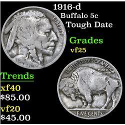 1916-d Tough Date . Buffalo Nickel 5c Grades vf+