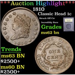 *Auction Highlight* 1810 Struck Off Ctr Incredibly Rare Classic Head 1c Graded Select BN By USCG (fc