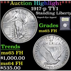*Auction Highlight* 1917-p TY1 Superb Eye Appeal Standing Liberty 25c Graded GEM FH By USCG (fc)