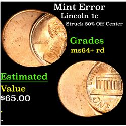 Mint Error Struck 50% Off Center . Lincoln Cent 1c Grades Choice+ Unc RD