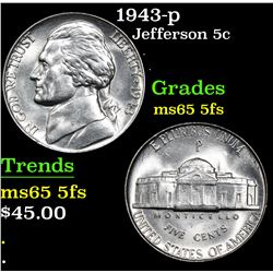 1943-p . . Jefferson Nickel 5c Grades GEM 5fs
