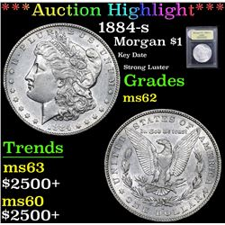 *Auction Highlight* 1884-s Key Date Strong Luster Morgan Dollar $1 Graded Select Unc By USCG (fc)