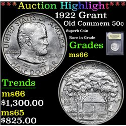 *Auction Highlight* 1922 Grant Superb Coin Rare in Grade Old Commem 50c Graded GEM+ Unc By USCG (fc)