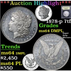 *Auction Highlight* 1878-p 7tf Super deep Mirrors . Morgan $1 Graded Choice Unc DMPL By USCG (fc)