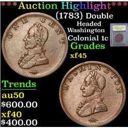***Auction Highlight*** (1783) Double Headed Washington . . Colonial Cent 1c Graded xf+ By USCG (fc)