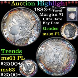 *Auction Highlight* 1883-s Rainbow Toned Ultra Rare Morgan $1 Graded Select Unc PL By USCG (fc)
