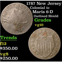 1787 New Jersey Maris 6-D Outlined Shield Colonial Cent 1c Grades vg+