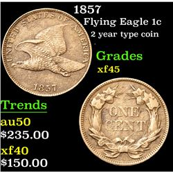 1857 2 year type coin . Flying Eagle Cent 1c Grades xf+