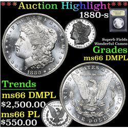 *Auction Highlight* 1880-s Superb Fields Wonderful Cameo Morgan $1 Graded GEM+ UNC DMPL By USCG (fc)
