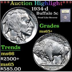*Auction Highlight* 1934-d Proof Like Reverse Buffalo Nickel 5c Graded GEM+ Unc By USCG (fc)