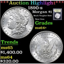 *Auction Highlight* 1890-s Much Tougher Date Near Gem Morgan $1 Graded Choice+ Unc By USCG (fc)
