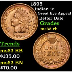 1895 Great Eye Appeal Better Date Indian Cent 1c Grades Select Unc RB