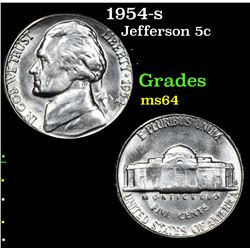 1954-s . . Jefferson Nickel 5c Grades Choice Unc