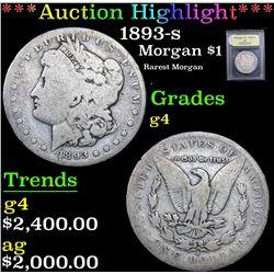 ***Auction Highlight*** 1893-s Rarest Morgan . Morgan Dollar $1 Graded g, good By USCG (fc)