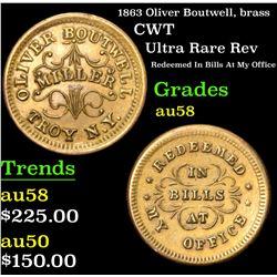 1863 Oliver Boutwell, brass Ultra Rare Rev Redeemed In Bills At My Office CWT 1c Grades Slider