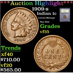 ***Auction Highlight*** 1909-s Lowest Mintage Key Date Indian Cent 1c Graded vf++ By USCG (fc)