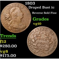 1803 . Reverse Sold Fine Draped Bust Large Cent 1c Grades vg+