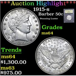 *Auction Highlight* 1915-s Stunning Luster Barber Half Dollars 50c Graded Choice Unc By USCG (fc)