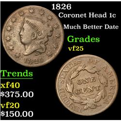 1826 Much Better Date . Coronet Head Large Cent 1c Grades vf+
