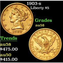 1903-s . . Gold Liberty Half Eagle $5 Grades Choice AU/BU Slider