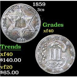 1859 . . Three Cent Silver 3cs Grades xf