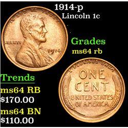 1914-p . . Lincoln Cent 1c Grades Choice Unc RB