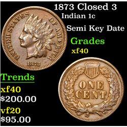 1873 Closed 3 Semi Key Date . Indian Cent 1c Grades xf