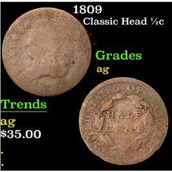 1809 . . Classic Head half cent 1/2c Grades ag