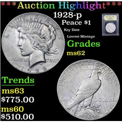 *Auction Highlight* 1928-p Key Date Lowest Mintage Peace Dollar $1 Graded Select Unc By USCG (fc)